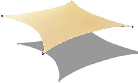 ALION HOME HDPE Square Sun Shade Sail Permeable Canopy Custom 9 x 9 , Beige