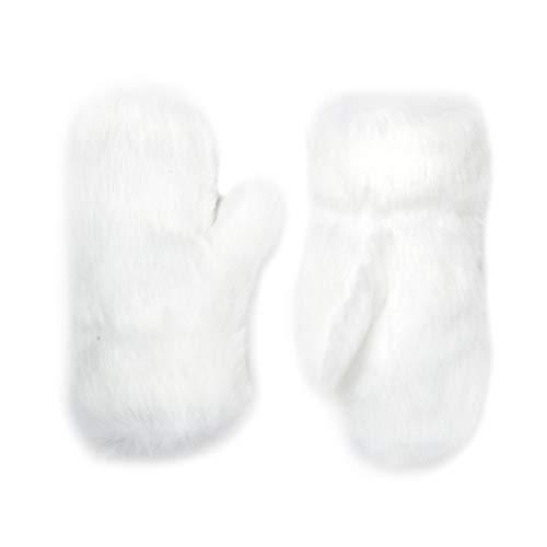 Futrzane Winter Gloves Women Men Mittens Made Of Rabbit Faux Fur (White) ()
