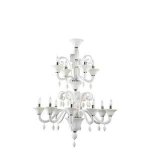 Cyan Lighting 6496-12-14 Treviso - Twelve Light 2-Tier Chandelier, Chrome Finish with White Murano Glass with White Murano Crystal