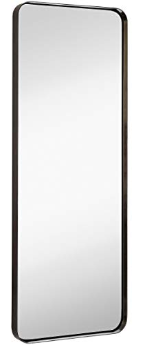 Hamilton Hills Contemporary Brushed Metal Tall Black Wall Mirror | Glass Panel -