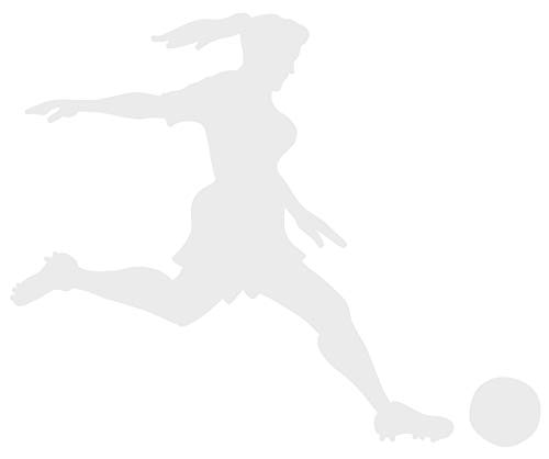 hBARSCI Soccer Player Vinyl Decal - 5 Inches - for Cars, Trucks, Windows, Laptops, Tablets, Outdoor-Grade 2.5mil Thick Vinyl - White ()