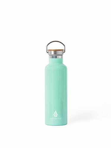 Elemental Stainless Steel Water Bottle 25oz (750ml) Premium Double Wall Insulated Vacuum Bottle with Bamboo Cap (Mint)