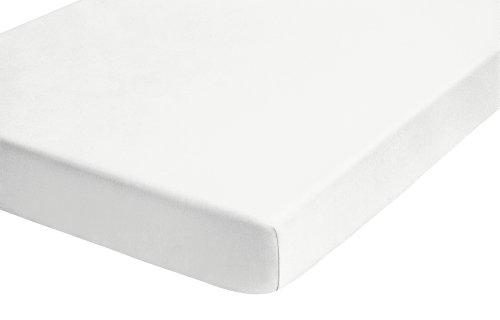 biberna 77144/001/040 Jersey-Stretch Spannbetttuch, nach Öko-Tex Standard 100, ca. 90 x 190 cm bis 100 x 200 cm, Farbe: weiß