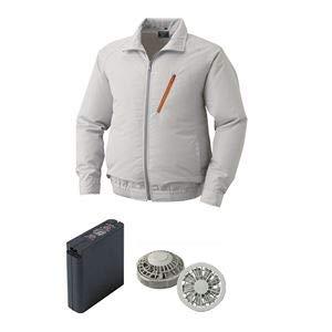 空調服 ポリエステル製空調服 大容量バッテリーセット ファンカラー:グレー 0510G22C06S4 【カラー:シルバー サイズ:2L】  B07P7J2JSM