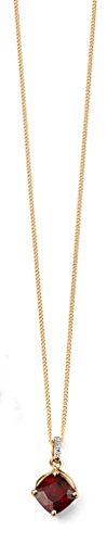 Jewellery World Bague en or jaune 9carats Grenat Pendentif