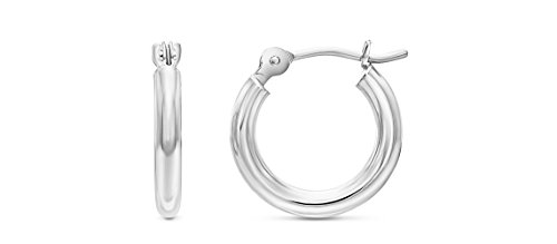 14k White Gold Small Round Hoop Earrings, 12mm (0.48 inch ()