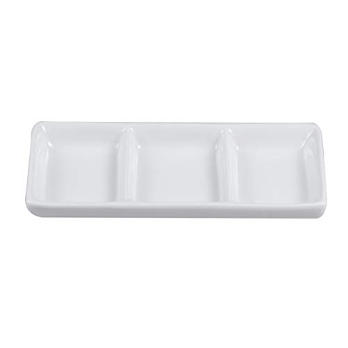 (BESTONZON White Ceramic Serving Platter 3 Compartment Appetizer Serving Tray Rectangular Divided Sauce Dishes for Home Hotel Restaurant Kitchen Spices Vinegar Nuts(15cm x 6.5cm/White))
