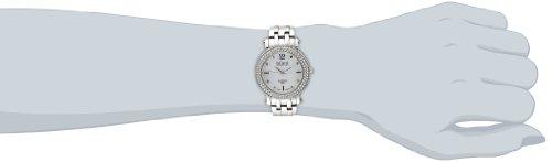Burgi Women's BUR079SS Swiss Quartz Diamond Crystal Mother-of-Pearl Silver-tone Stainless Steel Bracelet Watch