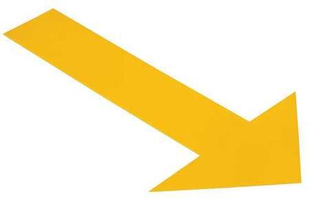 Ind Floor Tape Markers, Arrow, Yllw, PK50