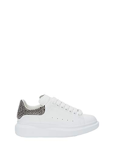 -Alexander McQueen Women's&Men's White/Black Oversized Leather Fashion Sneakers Walking Shoes Casual Sports Shoes in Fashion Style (EU43)