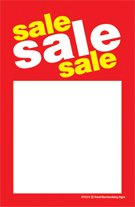 """DYC215 Sale Sale Sale Unstrung Drill Sale Tags (No Strings) Small Price Cards - (100 Pack) Furniture, Flooring, Business Store Signs (3 1/2"""" x 5 1/2"""")"""