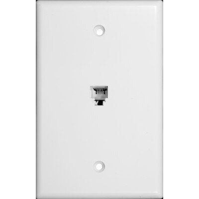 Morris 87011 Midsize Single RJ11 4 Conductor Phone Jack Wall Plate, White (Rj11 Phone Wall Plate)