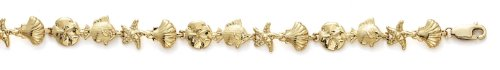 Shll Sanddollar 14 carats Bracelet Fish - 18 cm-JewelryWeb