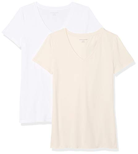 Amazon Essentials Women's 2-Pack Short-Sleeve V-Neck T-Shirt, Peach/White, Large