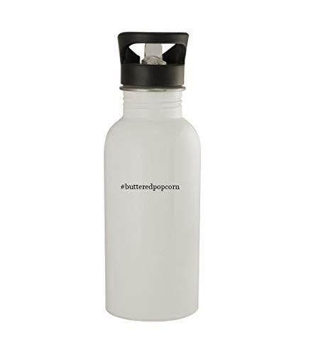 Knick Knack Gifts #butteredpopcorn - 20oz Sturdy Hashtag Stainless Steel Water Bottle, White