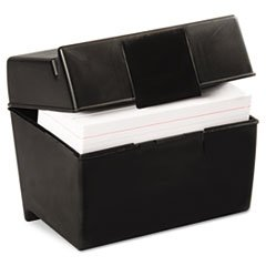 * Plastic Index Card Flip Top File Box Holds 400 4 x 6 Cards, Matte Black * 5COU