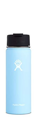 Hydro Flask 20 oz Travel Coffee Flask - Stainless Steel & Vacuum Insulated - Wide Mouth with Hydro Flip Cap - Frost
