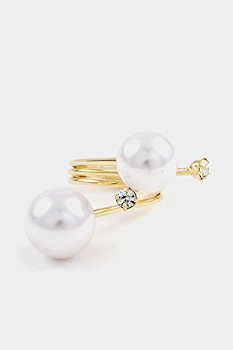 Trendy Fashion Jewelry Double Pearl and Crystal Accent One size Ring By Fashion Destination | (Gold/Cream)