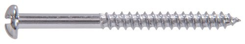 Chrome Plated Steel Round Head Slotted Wood Screw 40-Pack The Hillman Group The Hillman Group 1400 6 X1-1//2 In