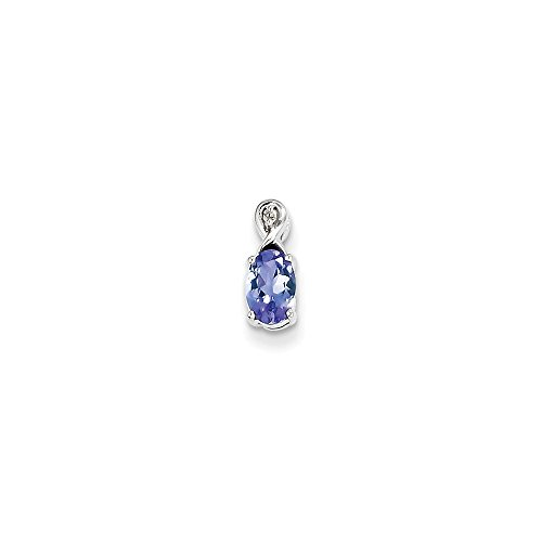 925 Sterling Silver Rhodium Plated Diamond and Tanzanite Oval Pendant (11mm x 4mm)