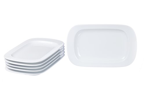 14' Rectangle Tray (Rectangular Serving/Dinner Platters - Dinner Plates Set - Trays for Parties (3 size), Durable White Porcelain, Restaurant&Hotel Quality (1, 6'' x 9.6''))