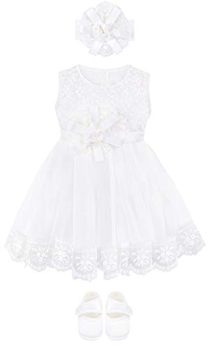 Lilax Baby Girl Newborn Christening Baptism Lace White Dress Gown 4 Piece Deluxe Set 0-3 Months