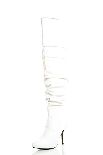 Forever Link Womens Pointy Toe High Stiletto Heel Over The Knee Thigh Boot 9 White