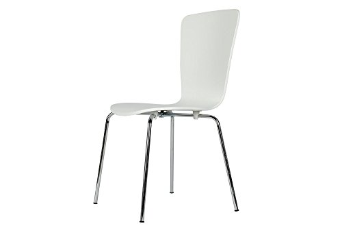 Novogratz Bentwood Dining Chair with Chrome Plated Legs, Set of 2, White ()