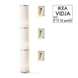 IKEA Vidja Standing Floor Lamp And 6 Bulbs; Round White