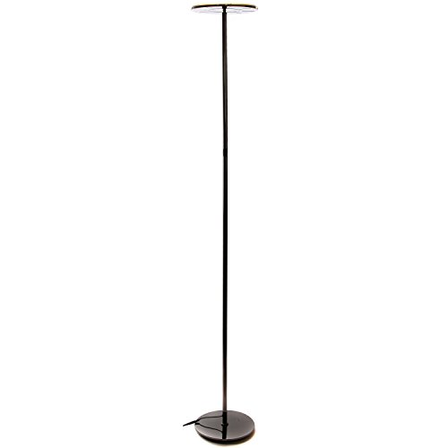 Floor Metal Round Lamp (Brightech Sky LED Torchiere Super Bright Floor Lamp - Tall Standing Modern Pole Light for Living Rooms & Offices - Dimmable Uplight for Reading Books in Your Bedroom etc - Gunmetal Black)