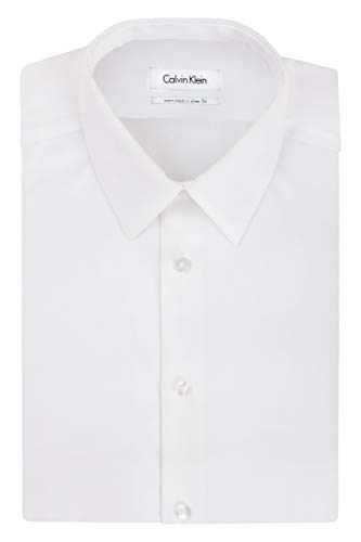 Calvin Klein Men's Non Iron Slim Fit Solid Point Collar Dress Shirt, White, 18