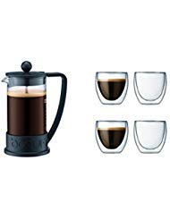 Bodum Brazil French Press Coffee Maker, 34 Ounce, 1 Liter, Black Plus 4 Pavina Double Wall Clear Glasses 2.5 oz, Set