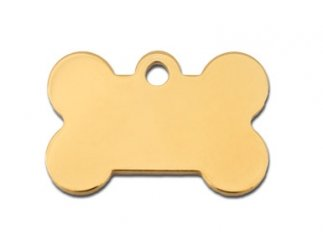 (Premium Polished Metal Collection Bone Shape Personalized 2 Side Custom Engraved Pet ID Tags! (Polished Brass, Small (1.187