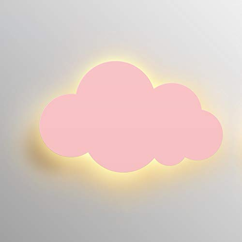 - Belief Rebirth LED Wall Lamp for Kids Bedroom - Solid Color Cloud Light 15W, Creative Design Decoration Wall Hanging Sconce for Nursery, Boy/Girl/Princess Bedroom Bedside Lamp (Color : Pink)