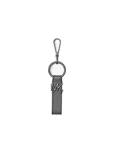 Michael Kors Men`s Logo Silver-Tone and Leather Key Chain (Grey, One Size)