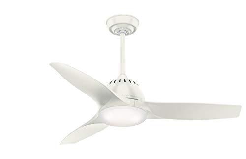 Casablanca Indoor Ceiling Fan with LED Light and remote control - Wisp 44 inch, White, - Casablanca Light
