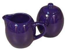 - Royal Blue Ceramic Creamer and Sugar Service Set with Lid