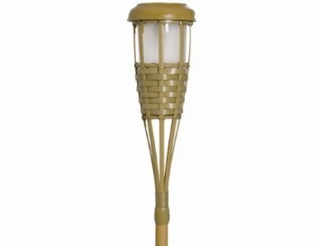 Set of 5 5x small solar torch lamp mood light with a bamboo design
