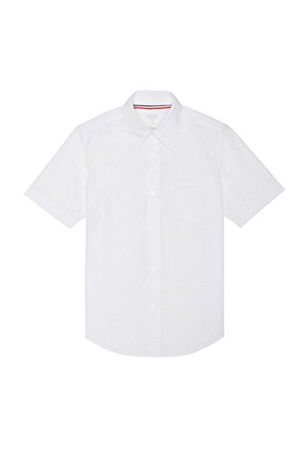 French Toast Big Boys' Short Sleeve Poplin Dress Shirt, White, 10 -