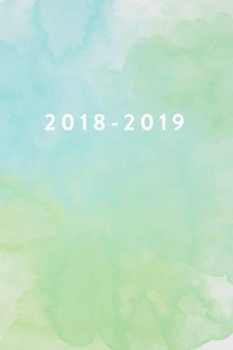 D.o.w.n.l.o.a.d 2018 - 2019, 18 Month Weekly & Monthly Planner: Green Watercolor, Daily, Weekly, Monthly, January 20 [Z.I.P]
