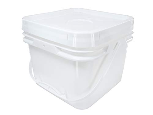 Square Bucket 2-Gallon Bucket with White Snap-on Lid