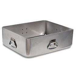 "Extra Heavy Gauge Aluminum Roaster. Handles on All Four Sides 21"" x 17"" X 7"" High. Optional Cover: See Item #68392"