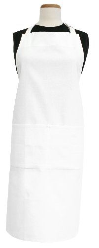 Ritz Royale 100% Cotton Twill Two-Pocket Bib Apron with Adjustable Neck and Waist, White -