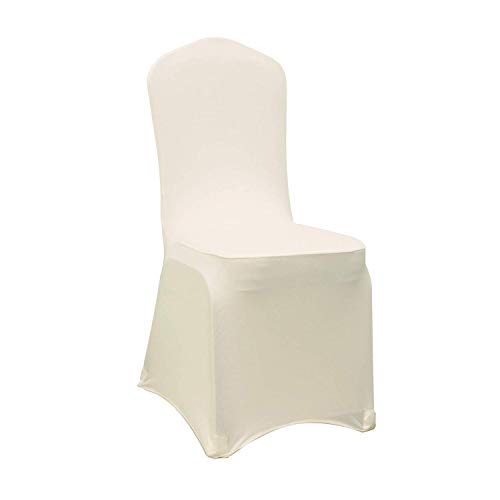 (Ivory Stretch Spandex Chair Covers Wedding Universal - 10 Pcs Banquet Wedding Party Dining Decoration Scuba Elastic Chair Cover (Ivory, 10))