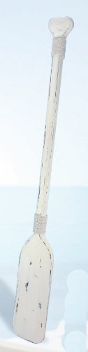 Distressed White Decorative Nautical Wood Paddle/Oar