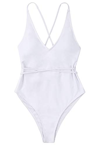 Lemonfish Monokini Swimsuits for Women Deep V Spaghetti Straps Tie Back Cross Cutout Cheeky One Piece Bathing Suit White,M