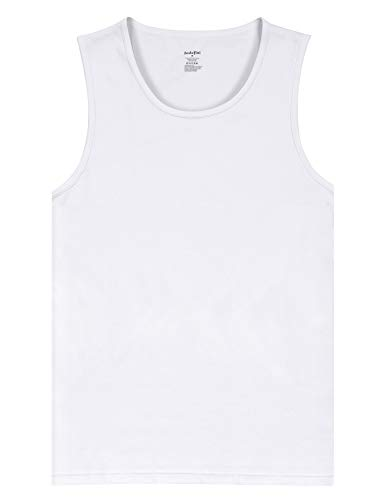 Indefini Men's Cotton Crew Neck Undershirts Sleeveless Tank Tops Fitted Shirts, 1 Pack of White - S
