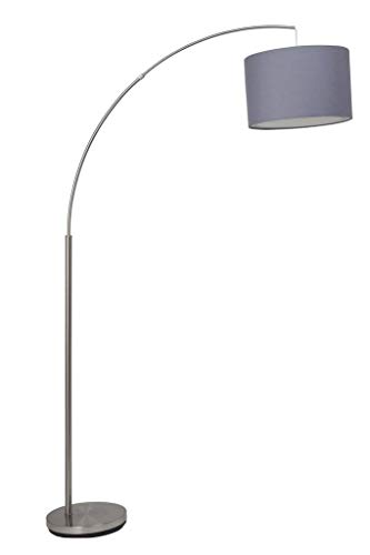 Brilliant AG 13258/22 staande lamp, metaal/textiel, 60 W, E27, staal/grijs
