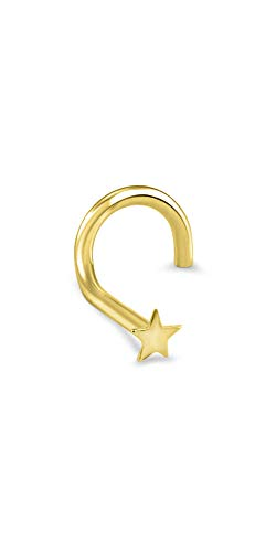 - 18k Solid Yellow Gold Left Nose Screw Ring 3.5mm Star 22G