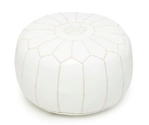Moroccan Leather Pouf Footstool with Embroidery [STUFFED] Divinely White [SHIPS FROM WITHIN USA]